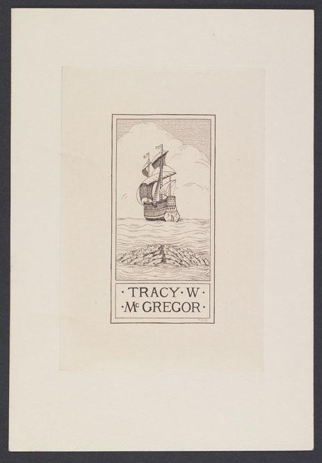 A. N. McDonald, Proof engraving of McGregor bookplate, 1933.