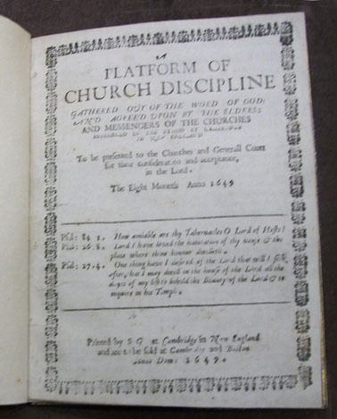 Congregational Churches in Massachusetts. Cambridge Synod (1648), A platform of church-discipline ..., 1649.