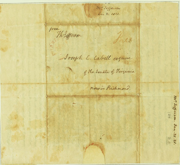 Autograph letter, signed. Thomas Jefferson to Joseph Carrington Cabell. 1821 January 31. Click on image to view letter.