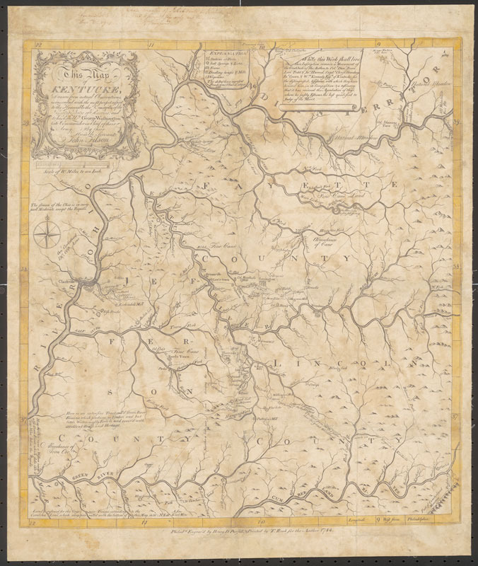 John Filson, This map of Kentucke: drawn from actual observations ..., 1784.