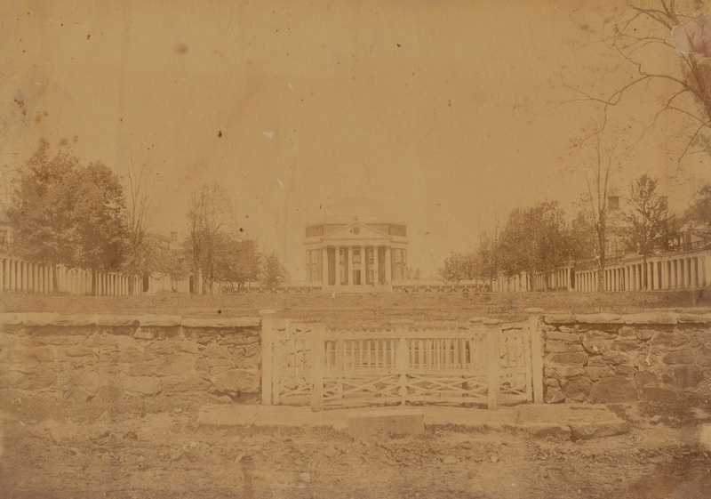 Photograph of the University of Virginia Rotunda and Lawn, ca. 1868.