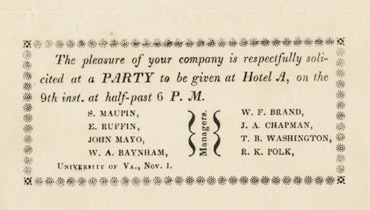 Party invitation issued by Socrates Maupin when he was a University of Virginia student. 1832.
