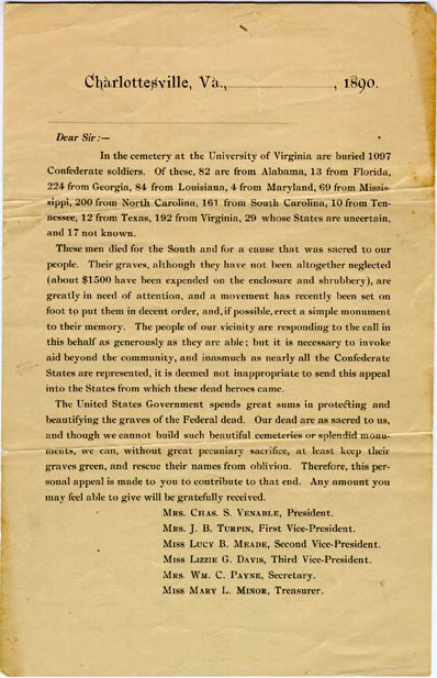 Ladies Confederate Memorial Association of Charlottesville letter,  1890