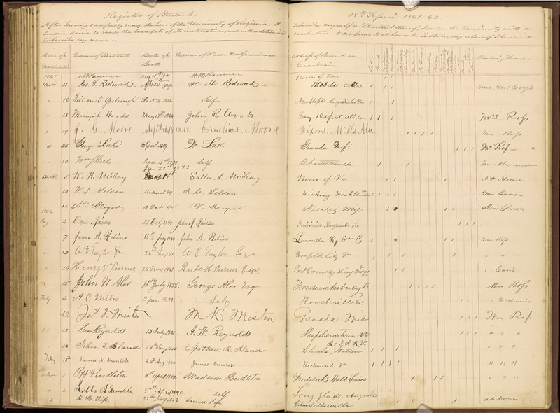 University of Virginia, Matriculation book, 38th Session, 1861-1862.