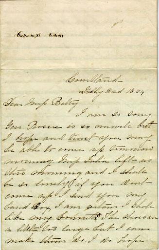 Rosser letter, 1864