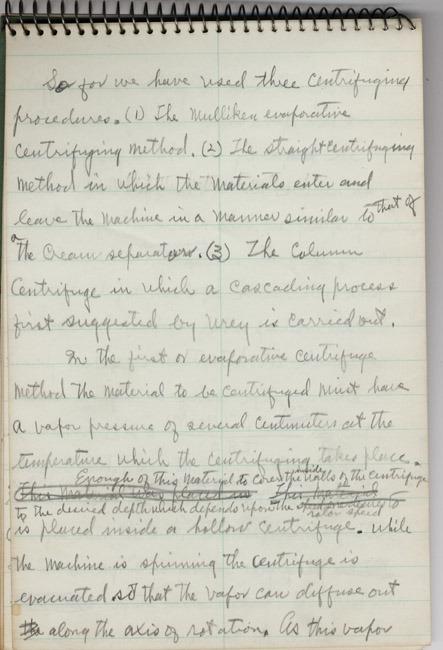 Jesse Beams. Spiral notebook. ca. 1940-41.