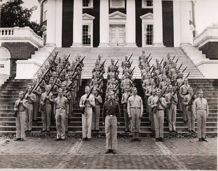 Photographs of drilling on the grounds at the University of Virginia. 1942.