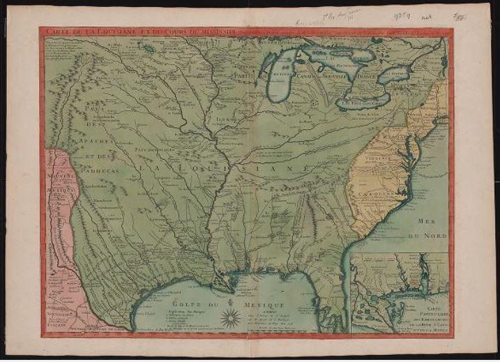 Carte de la Louisiane et du cours du Mississipi [i.e. Mississippi]: dressée sur un grand nombre de mémoires entrautres sur ceux de Mr. le Maire /