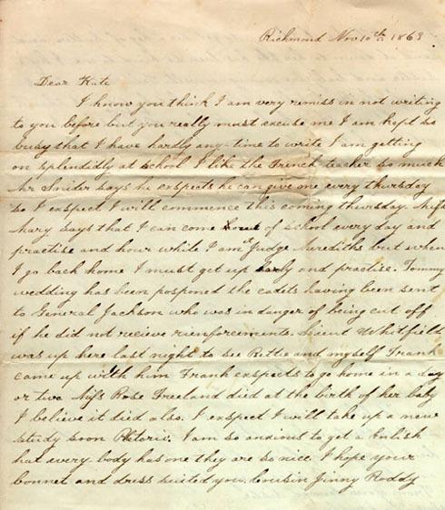 Pocahontas Robertson letter, 1863