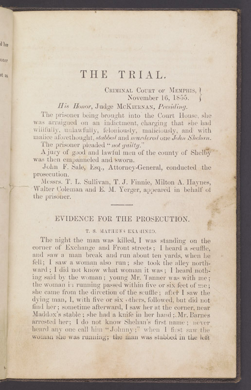 The trial and acquittal of Mary Moriarty, 1856.