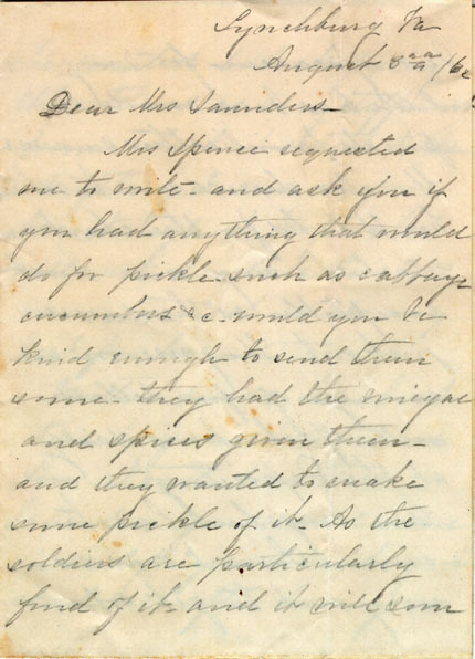 Letter from Mary J. Blackford to Mrs. Judge Saunders, 1862