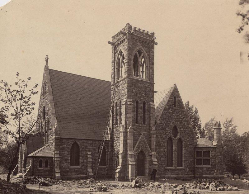Photograph of the University Chapel under construction