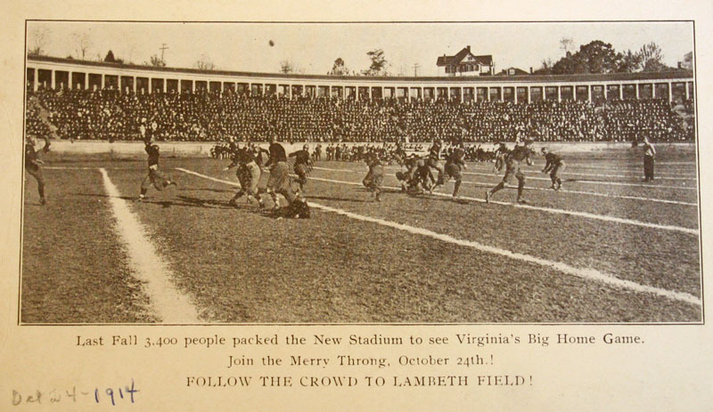 Postcard of the Virginia vs. Georgia game at Lambeth Field, 1914