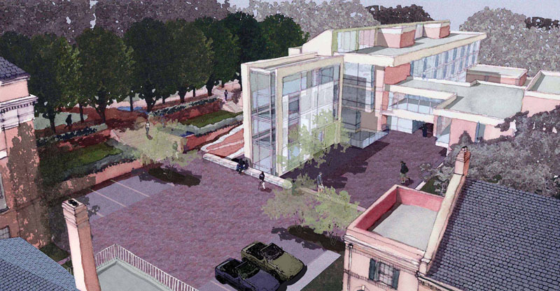 Landscape rendering of Campbell Hall, 2004