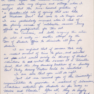 "Autograph letter, signed. James C. ""Jim"" Tyrone, Class of '77, to Dean of Students Robert T. Canevari. 1979 April 11."