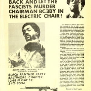 Black Panther Party. We Will Not Sit Back and Let the Fascists Murder Chairman Bobby in the Electric Chair.