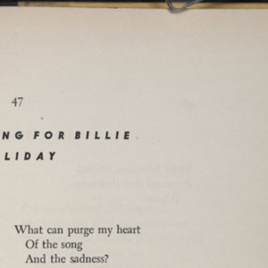 """Song for Billie Holliday"" by Langston Hughes"
