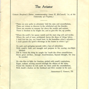 "McConnell documents. ""The Aviator"" by Armistead C. Gordon, Class of 1875."