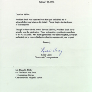 Linda Casey. Office of George Bush. Letter to DJM, 15 February 1996