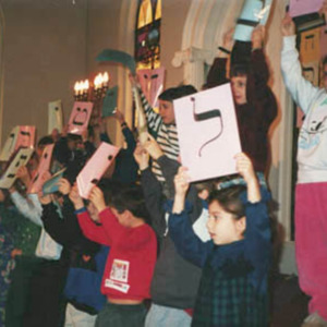 Celebrating Hanukah at the Religious School, 1993, 1