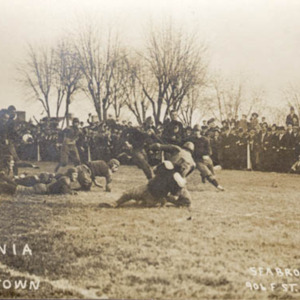 Postcard depicting the Virginia vs. Georgetown game, November 13, 1909.
