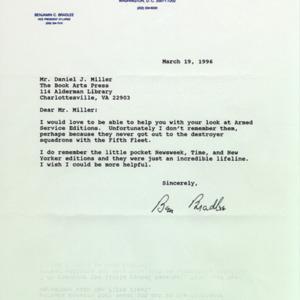 Ben Bradlee. Letter to Daniel J. Miller, 22 February 1996