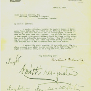 McConnell letters. March 25, 1917. Follansbee to Alderman