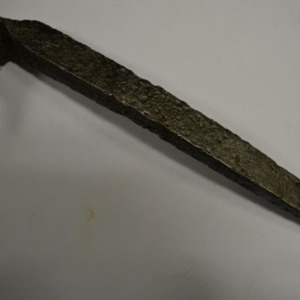 Iron spike with flattened head
