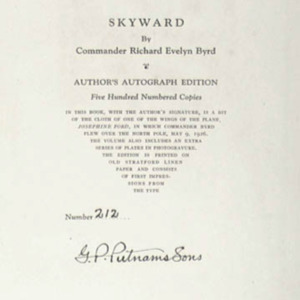 Richard E. Byrd. Skyward. New York: G.P. Putnam's Sons. 1928