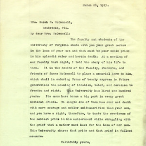 McConnell letters. March 28, 1917. Alderman to Sarah McConnell