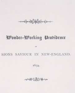 Wonder-Working Providence of Sions Saviour in New England