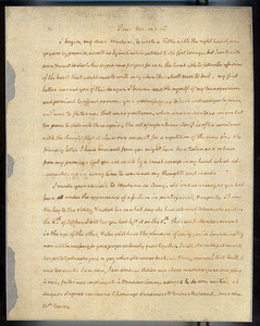 Autograph letter by [Thomas Jefferson] to [Maria] Cosway