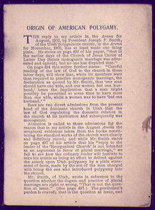 Origin of American Polygamy