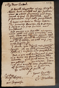 Autograph letter, signed, from Cotton Mather to Thomas Foxcroft