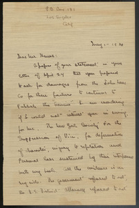 Letter from Theodore Dreiser to [A. C.] Hume