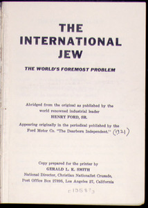 The International Jew, the world's foremost problem
