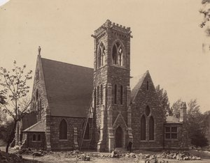 Photograph of the University Chapel under construction