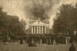"""Photograph of the """"Great Fire"""" of the Rotunda"""