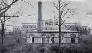 Photograph of the boiler house behind Cabell Hall