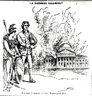 A cartoon referring to the Rotunda fire