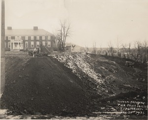 The Alderman Library construction site, 1936