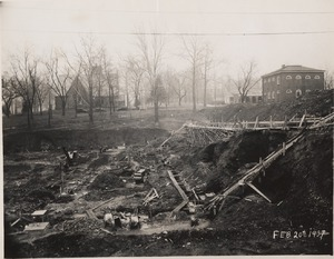 The Alderman Library construction site, 1937