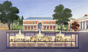 Rendering of the Harrison Institute and Small Special Collections Library