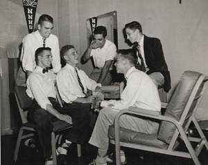 Students gathered in a McCormick Road dormitory room, ca. 1952
