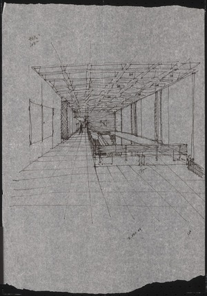 Interior sketch of Campbell Hall, 1964