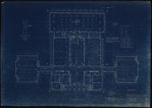 Blueprint of first floor plan of Clark Hall