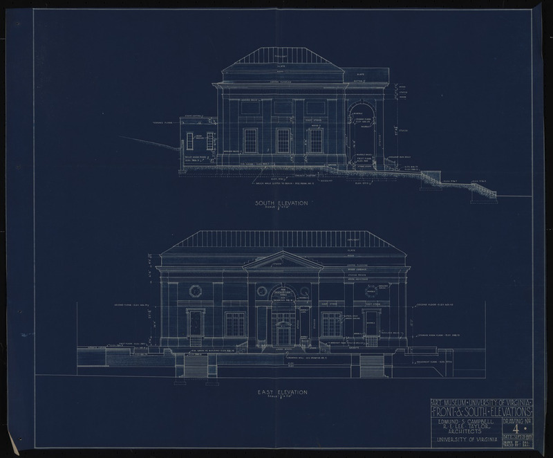 Front and south elevations of the Bayly Art Museum, 1933