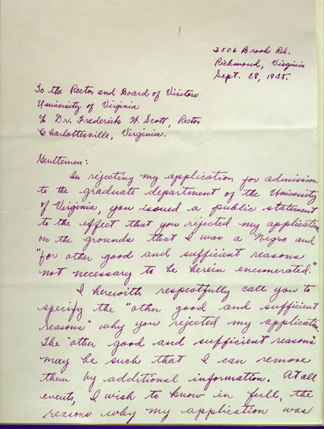Autograph letter, signed. Alice Jackson to the Rector and Board of Visitors. 1935 September 28.