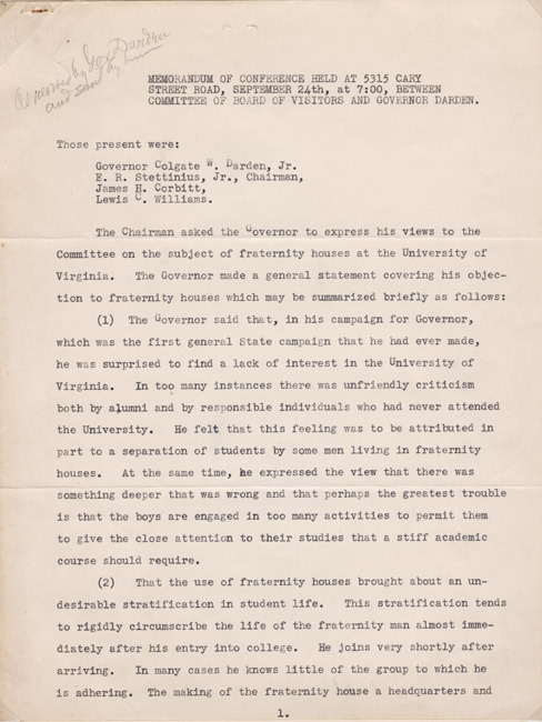 Memorandum of conference held between committee of Board of Visitors and Governor Colgate Whitehead Darden, Jr. 1942 September 24.