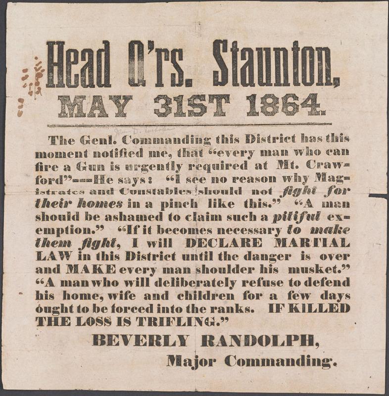 Confederate States of America. Army. Head Q'rs. Staunton …  [Staunton, Va.?, 1864]